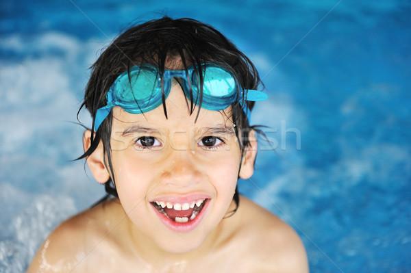 Stock fotó: Kicsi · fiú · úszómedence · víz · nyár · portré