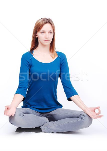Jonge model ontspannen geïsoleerd vrouw meisje Stockfoto © zurijeta