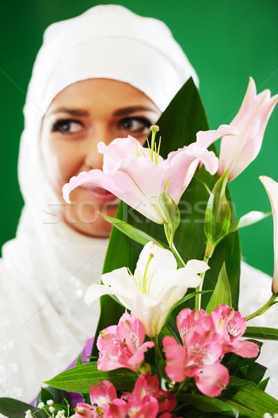 Stock fotó: Gyönyörű · fiatal · távolkeleti · menyasszony · esküvő · boldog