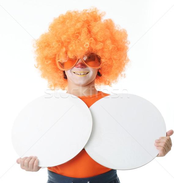 Cute funny clown dziecko biały portret Zdjęcia stock © zurijeta