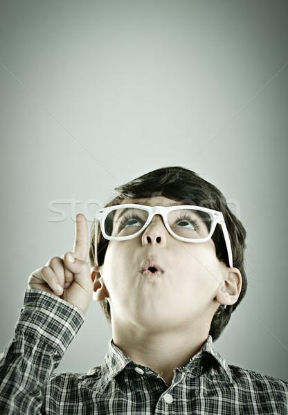 Pequeno bonitinho menino posando estilo retro fotografia Foto stock © zurijeta