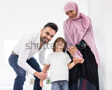 Stock photo: Portrait of Middle eastern man with children