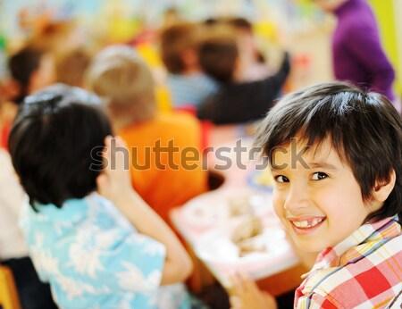 Aranyos gyerekek ünnepel születésnapi buli játszótér sok Stock fotó © zurijeta