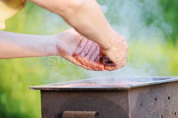 Barbecue at summer weekend Stock photo © zurijeta