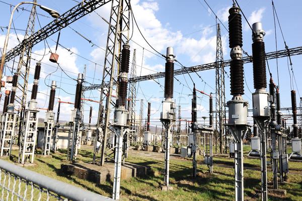 Elektromos erőmű készít elektromos energia építkezés természet Stock fotó © zurijeta