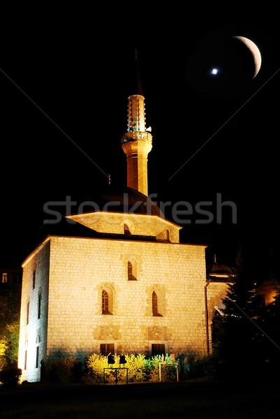 мечети ночь полумесяц звездой небе красный Сток-фото © zurijeta