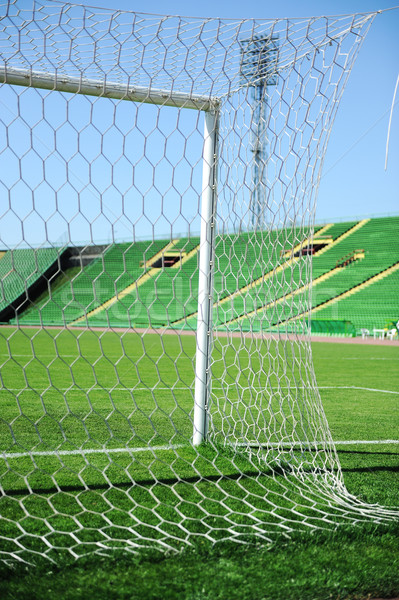 goal net and white line in a soccer field on stadium Stock photo © zurijeta