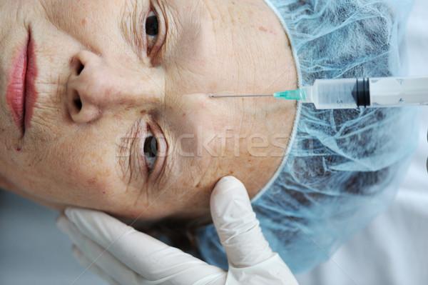 Kıdemli kadın botox enjeksiyonu hastane moda kadın Stok fotoğraf © zurijeta
