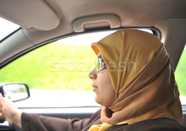 an a muslim woman in car, driver Stock photo © zurijeta