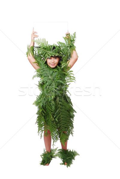 Little cute girl wearing leafs clothes Stock photo © zurijeta