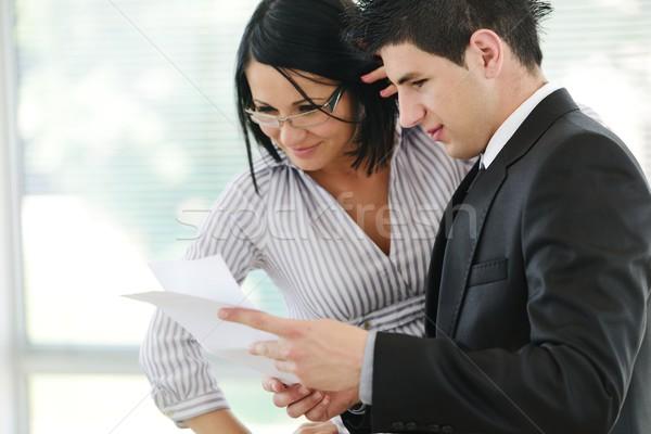 Persoonlijke financieel adviseur tablet business glimlach vergadering Stockfoto © zurijeta