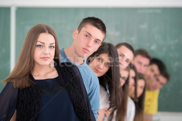 Sınıf arkadaşları ayakta grup lise kız Stok fotoğraf © zurijeta