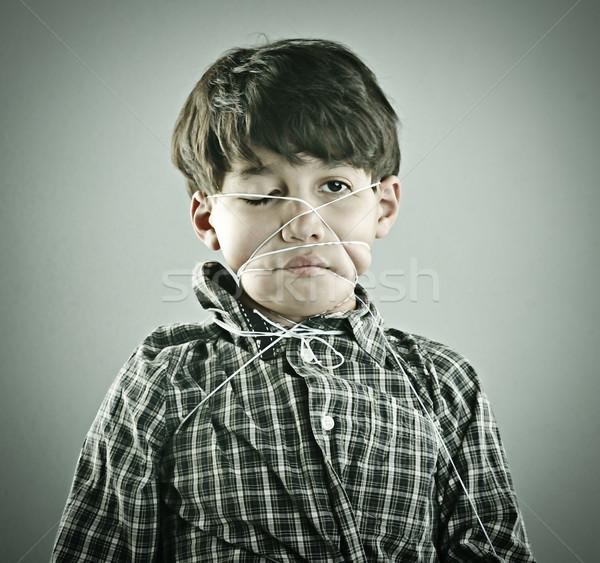 Vintage retrato menino cara abstrato criança Foto stock © zurijeta