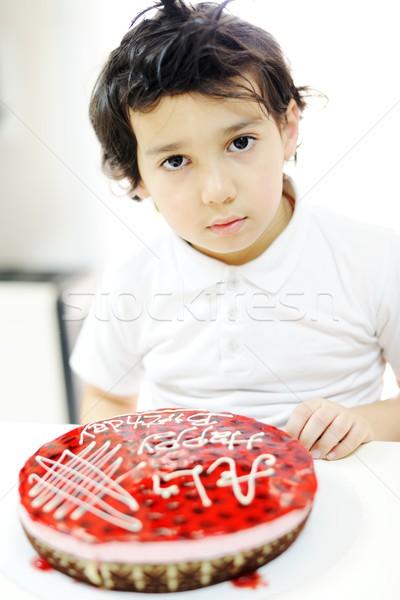 Kids at birthday party in kindergarden playground Stock photo © zurijeta