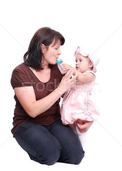 Stockfoto: Moeder · baby · bankschroef · meisje · vruchten