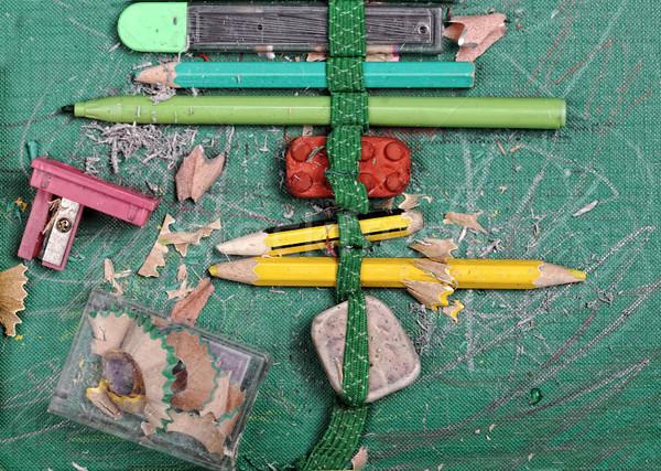 Edad utilizado lápiz caso madera fondo Foto stock © zurijeta