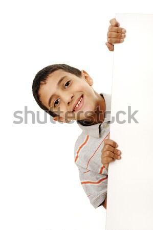 Portré boldog kicsi fiú tart tábla Stock fotó © zurijeta