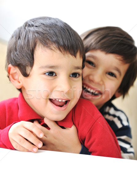 Two happy brothers, happiness, playing, togetherness, laugh, fun, childhood Stock photo © zurijeta