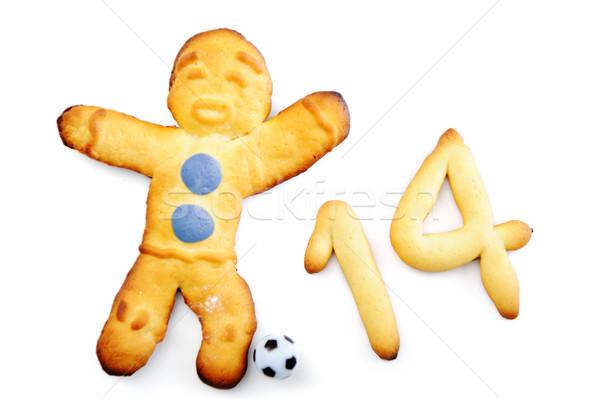 Muffin man voetballer voedsel model voetbal Stockfoto © zurijeta