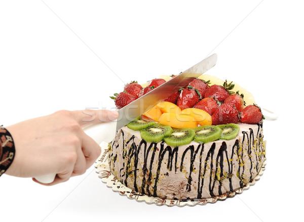 Fantasztikus gyümölcskenyér vág étel buli gyümölcs Stock fotó © zurijeta