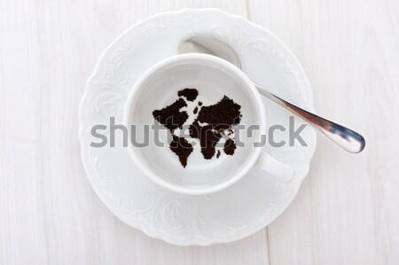 Stok fotoğraf: Dünya · haritası · kahve · fincanı · dünya · kahve · enerji · kahvaltı