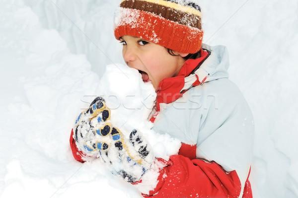 Tél jókedv gyerek játszik szórakozás hó Stock fotó © zurijeta