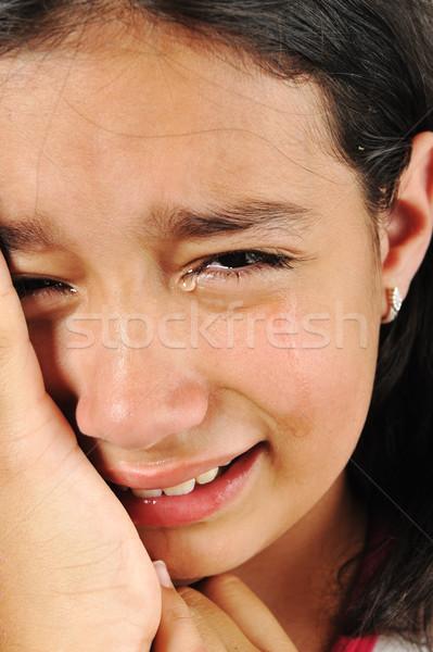 Sír lány szomorú gyerek fiatal stressz Stock fotó © zurijeta