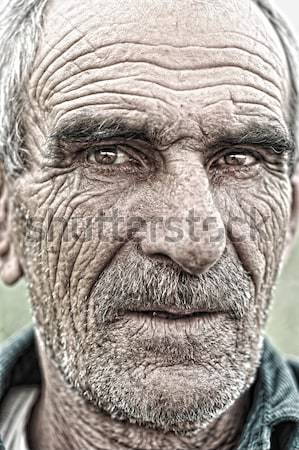 closeup portrait of old man, wrinkled elderly skin, face Stock photo © zurijeta