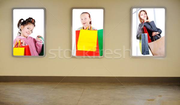 Wall in mall, three images on, three shopping generations in collage Stock photo © zurijeta