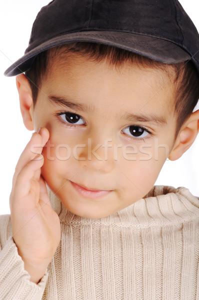 Jongen denim cap portret kid idee Stockfoto © zurijeta