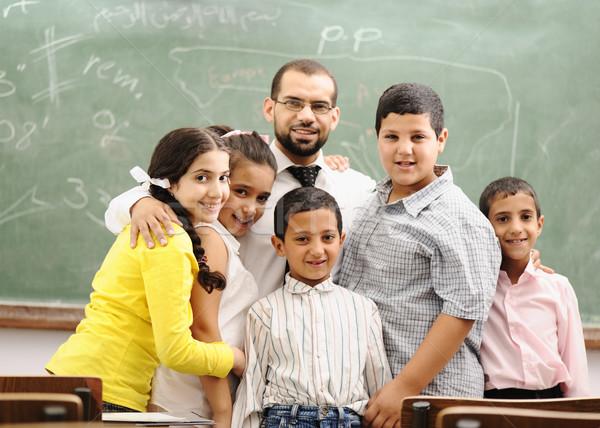 Kinderen school klas meisje glimlach liefde Stockfoto © zurijeta
