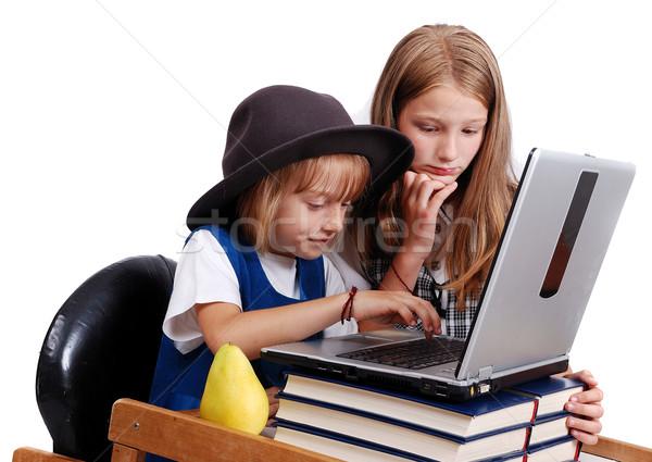 Children activities on laptop put on desk, isolated  Stock photo © zurijeta