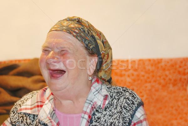 Yaşlı kadın kırmızı komik gülme yüz çirkin Stok fotoğraf © zurijeta
