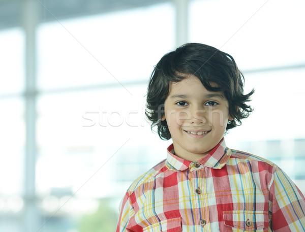 Sevimli küçük çocuk portre ofis gülümseme Stok fotoğraf © zurijeta