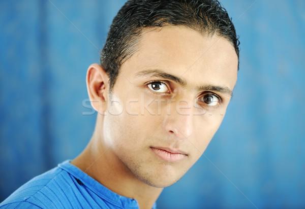 Portré fiatal férfi gyönyörű funky aranyos Stock fotó © zurijeta