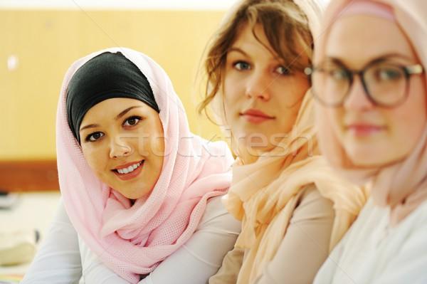 カジュアル グループ 学生 見える 幸せ 笑みを浮かべて ストックフォト © zurijeta