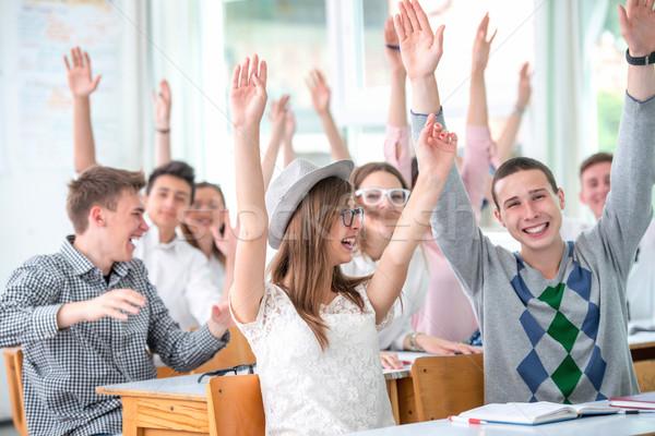Mosolyog diákok kéz a kézben levegő középiskola osztályterem Stock fotó © zurijeta