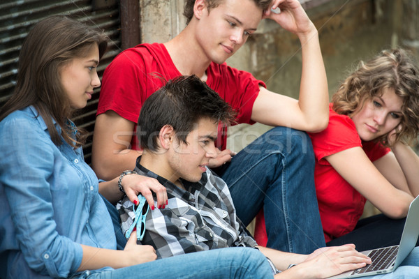 Stock photo: Group of young people reading