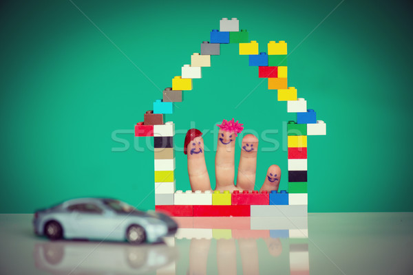 Family home and car concept with fingers Stock photo © zurijeta