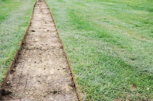 Groove on ground, green grass background Stock photo © zurijeta