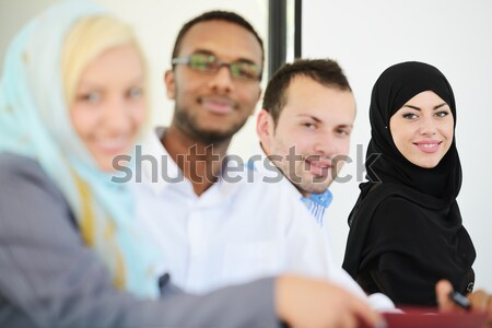 Middle eastern people having a business meeting at office Stock fotó © zurijeta