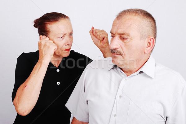 Senior couple situation in white isolated background Stock photo © zurijeta