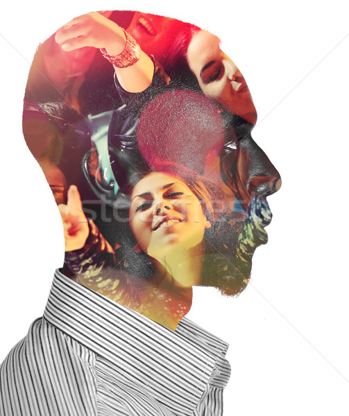 Double exposure of man with girls at party concert Stock photo © zurijeta