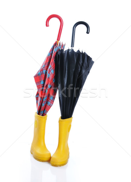 Umbrellas and boots Stock photo © zurijeta