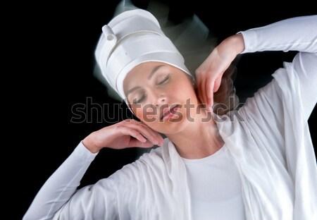 Biały kobieta twarz tle sztuki etapie Zdjęcia stock © zurijeta