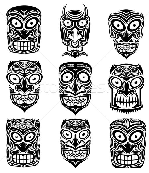 Indian Tribal schedel mascotte tattoo illustratie Stockfoto © Zuzuan