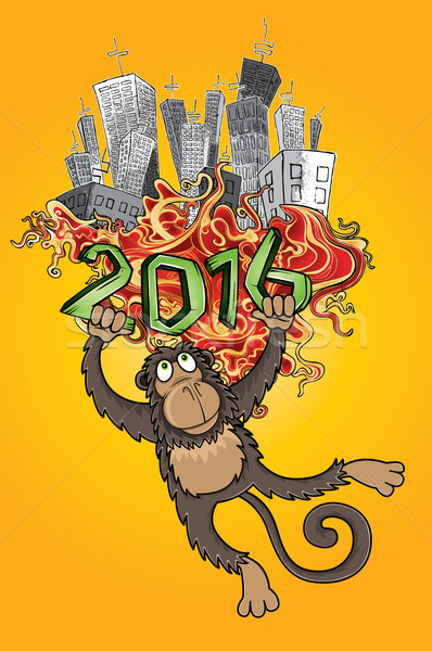 Chinese zodiac monkey rush panel city background Stock photo © Zuzuan