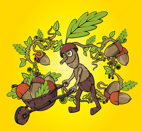 forest man oak leaves autumn season design illustration Stock photo © Zuzuan