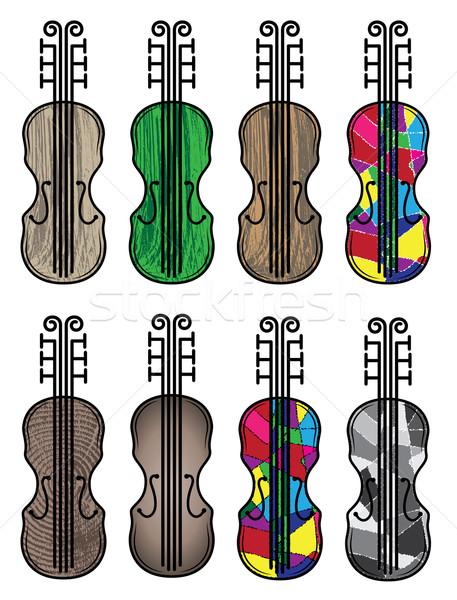 скрипки инструмент силуэта текстуры дизайна Сток-фото © Zuzuan