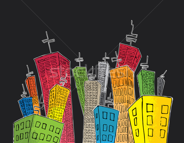 cartoon colored tall skyscrapers suburb Stock photo © Zuzuan
